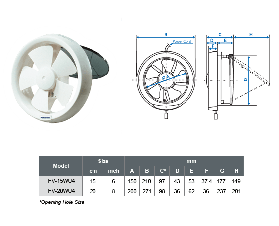 Panasonic Exhaust Fan FV-15WU4_Spec